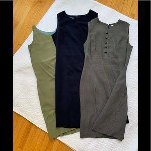 3 sleeveless sheath dresses
